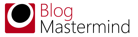 Blog Mastermind logo showing a dark circular spot surrounded by a white one, both inside a rectangle